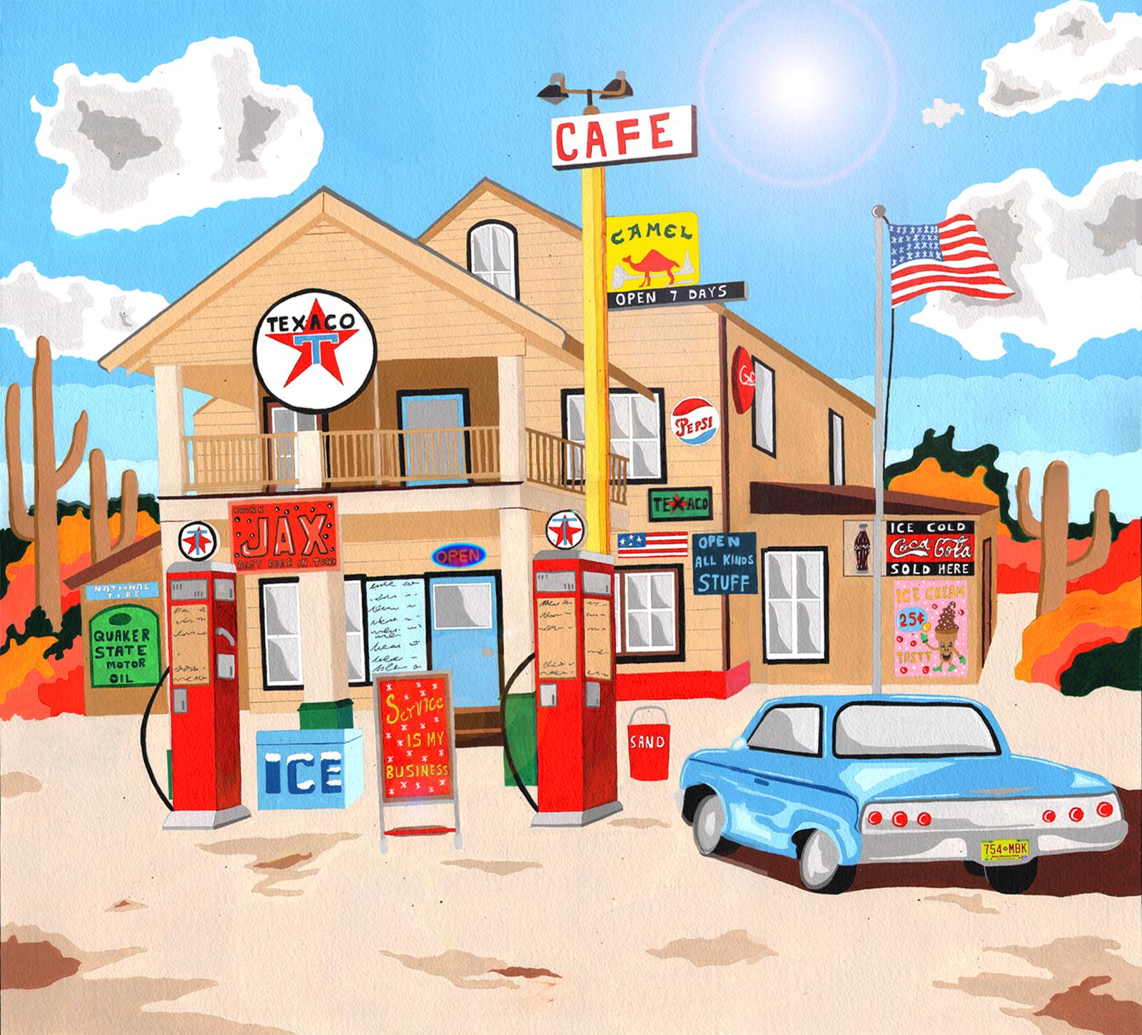 Classic American Texaco Station, Mojave Desert