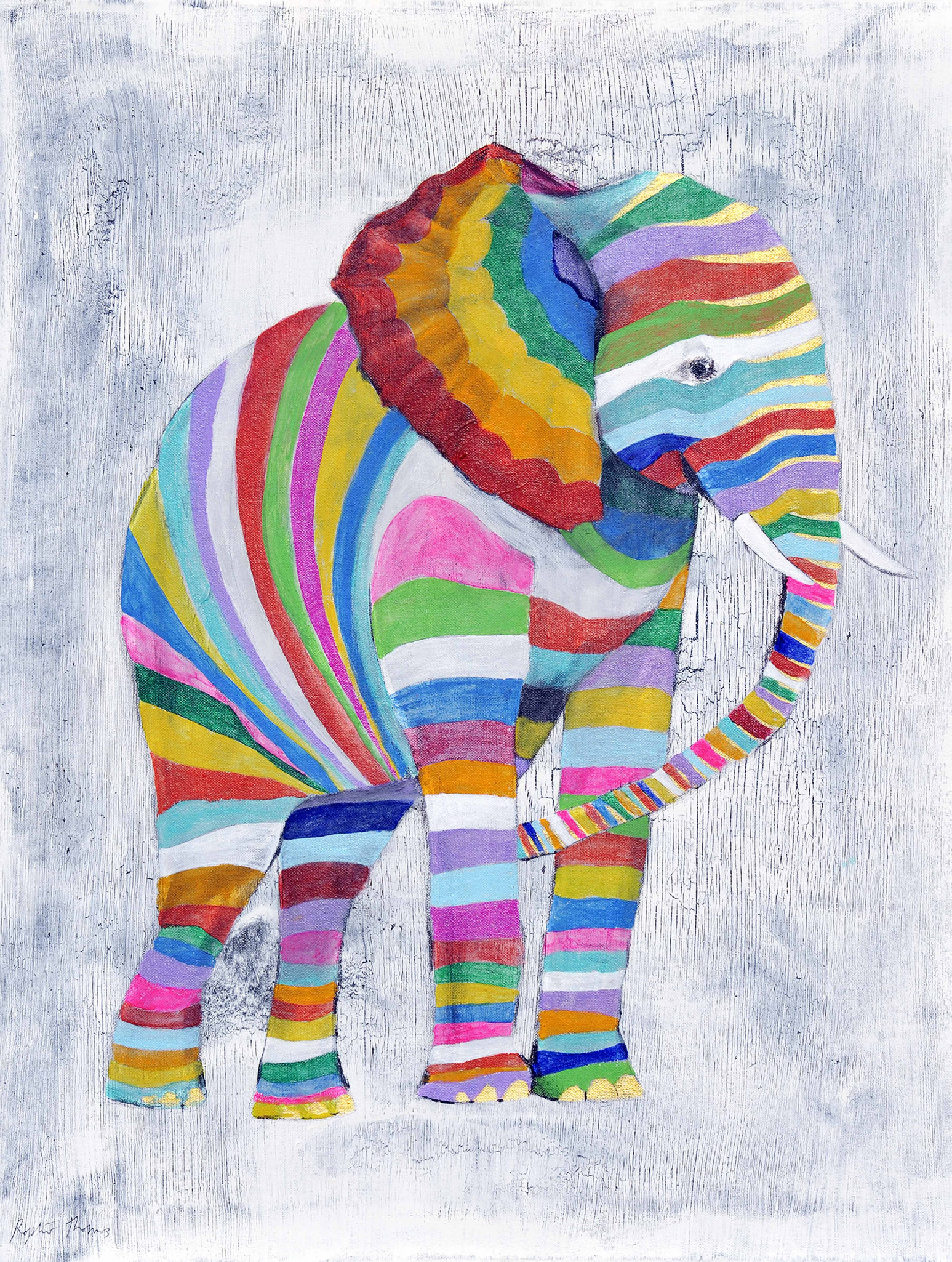 Elephant Abstract print painting limited edition signed