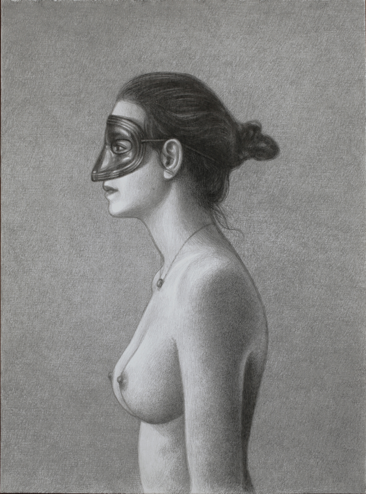 masked nude in profile, drawing | degreeart the original online