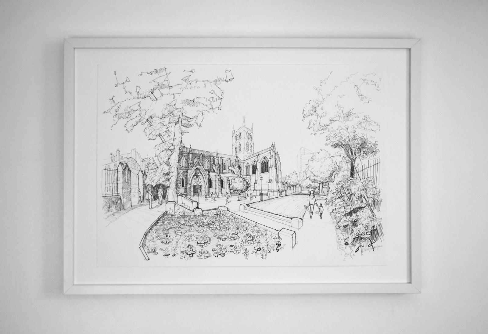 The South Churchyard of Southwark Cathedral 42 x 59 cm Pen & ink ...